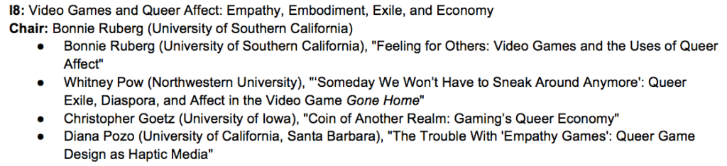 Video Games and Queer Affect SCMS panel